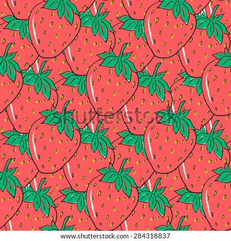 Seamless pattern with red hand drawn strawberries. Cute berries for wrapping paper, textile and packaging design - stock vector
