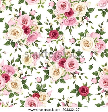 Seamless pattern with red, pink and white roses on a white background. Vector illustration. - stock vector
