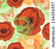 Seamless pattern with red poppies and butterflies, hand-drawing. Vector illustration. - stock vector