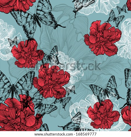 Seamless pattern with red tulips and black butterflies. Vector illustration. - stock vector
