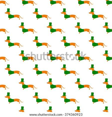 Seamless pattern with repeating cute dachshund in emerald hat and jersey isolated on white background. Textile, wrapping paper, wallpaper, boxes decoration, other packing elements template - stock vector
