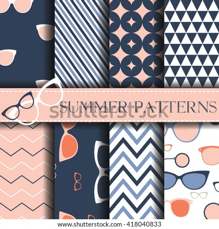 Seamless pattern with retro Glasses Vector Background Set of seamless backgrounds. Vector image with sunglasses - stock vector