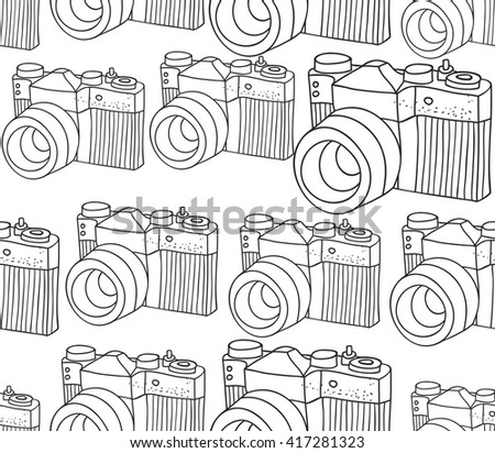 Seamless pattern with retro photo camera. Vector illustration for coloring. - stock vector