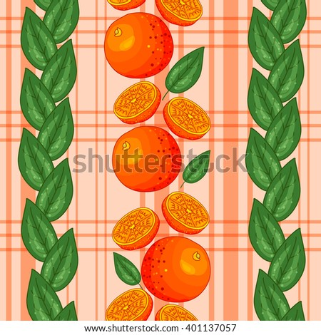 Seamless pattern with ripe bright oranges and leaves. Vector texture illustration. Citrus wallpaper, ornamental background. Fruit vegetarian pattern - for food design, wrapping, concept, decoration. - stock vector