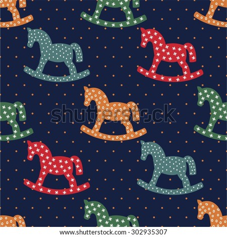 Seamless pattern with rocking horses on dark blue background. Cute baby shower background. Colorful child play illustration. Children's games concept. - stock vector