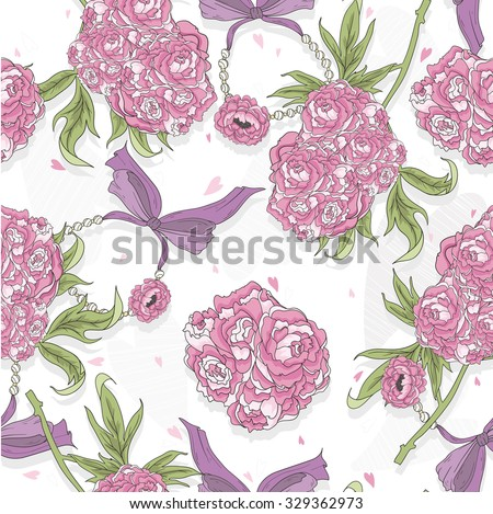 Seamless pattern with rose flowers, hearts and jewelry. Floral background. - stock vector