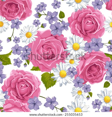 Seamless  pattern with  roses, camomile on design background, vector illustration. - stock vector