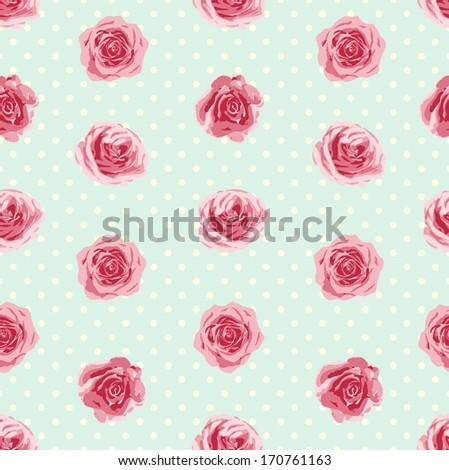 Seamless pattern with roses. Vector illustration - stock vector