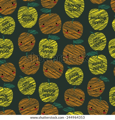 Seamless pattern with scratched smiling apples, summer harvest background. 'Sweet apple, cute apple' typography. Japanese manga style. Endless texture, fruit background. Dessert backdrop. - stock vector