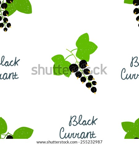 Seamless pattern with scribble illustrations of black currant with green leaves and blue text. Elements for design. - stock vector