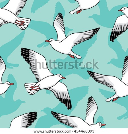 seamless pattern with seagulls - stock vector
