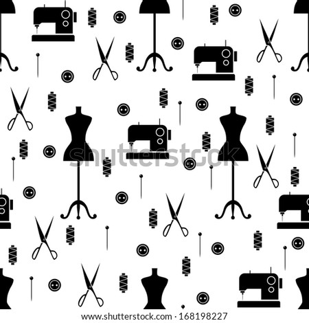 Seamless pattern with sewing elements. Vector illustration - stock vector