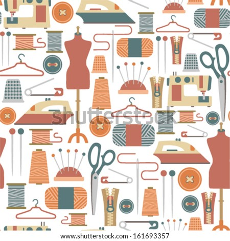 seamless pattern with sewing icons - stock vector