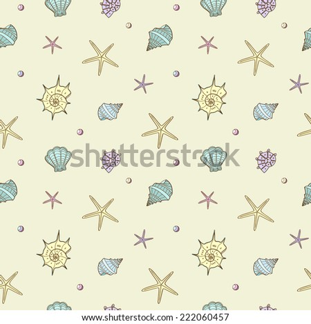 Seamless pattern with shell - stock vector