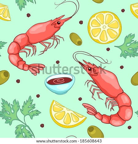 Seamless pattern with shrimps. Vector cute cartoon background. - stock vector