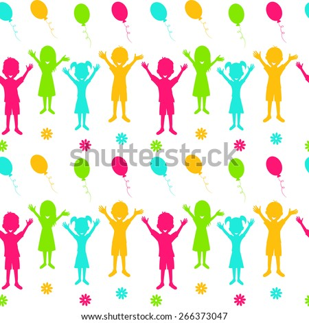 seamless,pattern with silhouette of  boy,girl,balls and flower on a white background,illustration,vector - stock vector