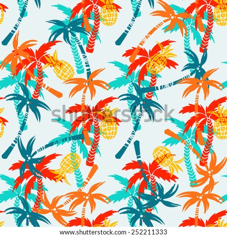 Seamless pattern with silhouettes tropical coconut palm trees, fruits pineapples. Summer colorful repeating background. Natural print texture. Cloth design. Wallpaper, wrapping - stock vector