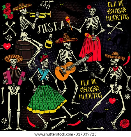 Seamless pattern with skeletons. Day of the Dead (Dia de los Muertos). The skeleton dance.  - stock vector