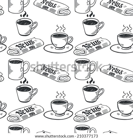 Seamless pattern with sketchy hand drawn coffee cups and newspapers on white background. Coffee break illustration. - stock vector