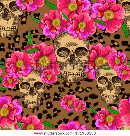 Seamless pattern with skulls and flowers - stock vector