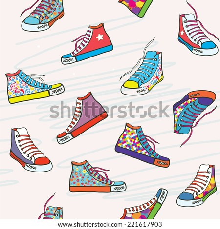 Seamless pattern with sneakers - funny bright design - stock vector