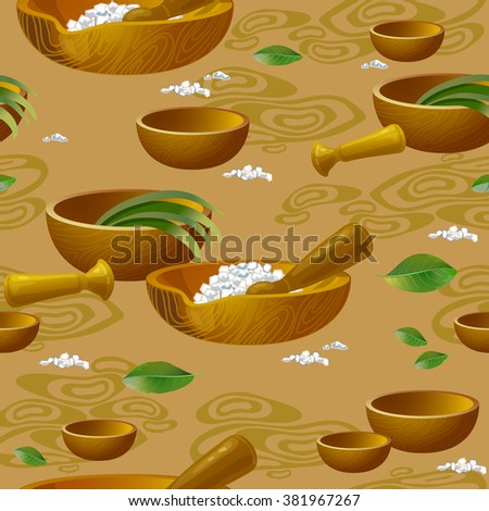Seamless pattern with  spa accessories pestle and salt. - stock vector