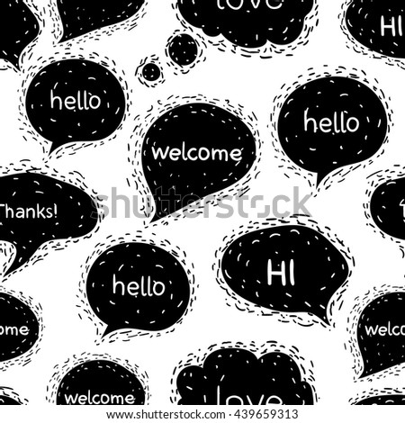 Seamless pattern with speech bubbles.Greetings.Words: hello, Welcome, hi, Thanks, love. Vector illustration welcome background. Conversation bubbles on a white background. - stock vector
