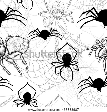 Seamless pattern with spiders and cobweb on white. Halloween background with scary silhouettes. Doodle illustration and hand drawn repeated background - stock vector