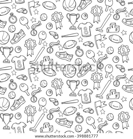 Seamless pattern with sport equipment. Vector illustration - stock vector