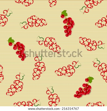 Seamless pattern with sprigs of red currants on beige striped background - stock vector