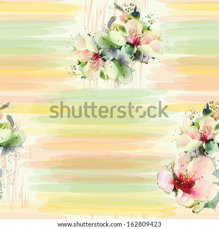 Seamless pattern with spring flowers on grunge striped colorful background in pastel colors - stock vector