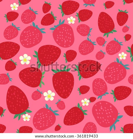 Seamless Pattern With Strawberries - stock vector