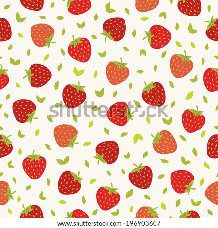 Seamless pattern with strawberries. Perfect for wallpapers, pattern fills, web page backgrounds, surface textures, textile.  - stock vector