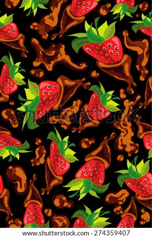 Seamless pattern with strawberry and chocolate - stock vector