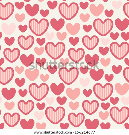Seamless pattern with striped hearts. Valentine's Day background. Holiday cute texture. Vector repeating print - stock vector