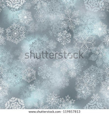 Seamless pattern with stylized snowflakes. - stock vector