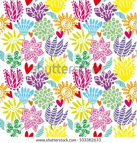 Seamless pattern with summer flowers - stock vector