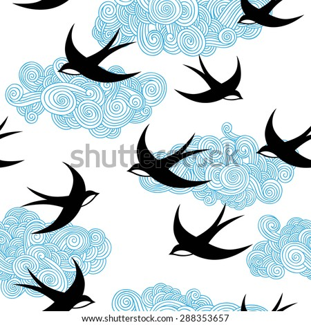 Seamless pattern with swallows. - stock vector