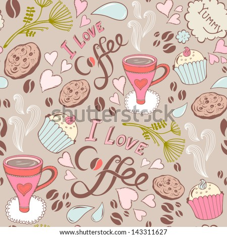 """Seamless pattern with sweet cakes, coffee and other cute things """"I love coffee"""". - stock vector"""