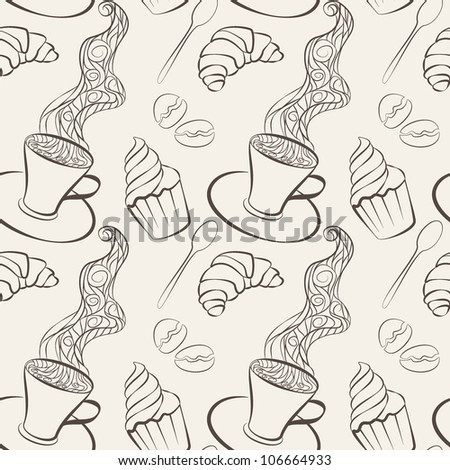 seamless pattern with sweets and coffee cup - stock vector