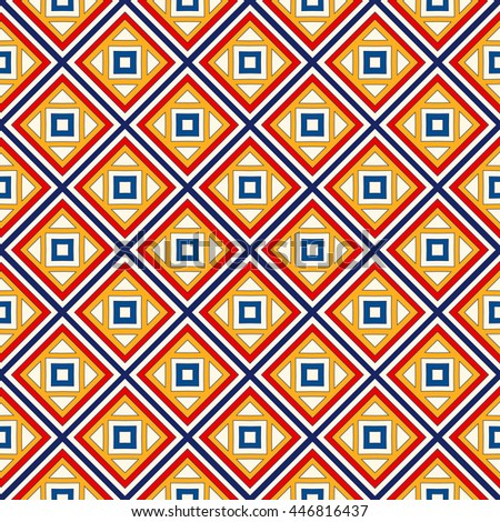 Seamless pattern with symmetric geometric ornament. Bright abstract background. Repeated squares and rhombuses ornamental wallpaper. Vector illustration - stock vector