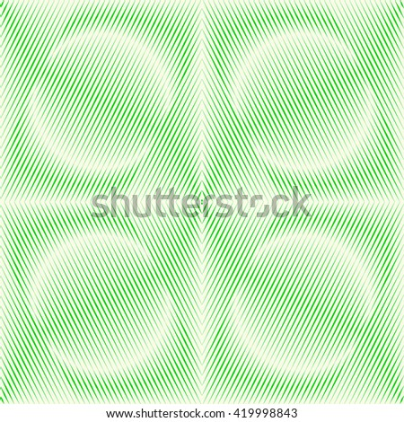 Seamless pattern with symmetric geometric ornament. Green white sharp lines and round spheres abstract background. 3d optical illusion effect wallpaper. Vector illustration - stock vector