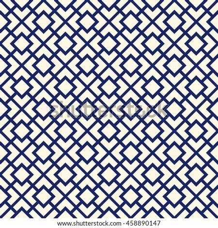 Seamless pattern with symmetric geometric ornament. Navy color diagonal square chain abstract background. Vector illustration - stock vector