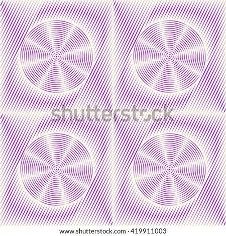 Seamless pattern with symmetric geometric ornament. Purple violet sharp lines and stylized propellers abstract background. 3d optical illusion effect wallpaper. Vector illustration - stock vector