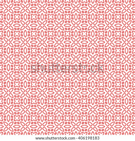 Seamless pattern with symmetric geometric ornament. Red white triangles and polygons abstract background.  - stock vector