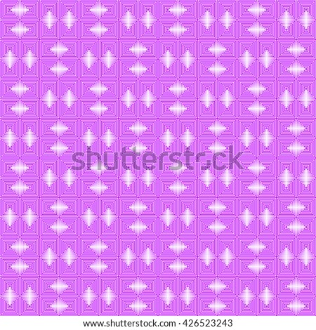 Seamless pattern with symmetric geometric ornament. Repeating breaking violet purple lines abstract background. Abstract repeated stylized squares wallpaper. Vector illustration - stock vector