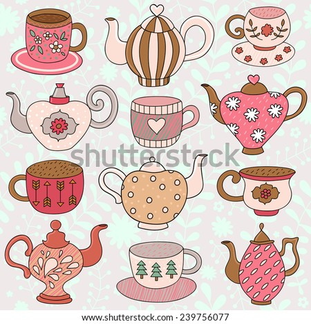 Seamless pattern with  tea cups and teapots  in cartoon style. Vector  - stock vector