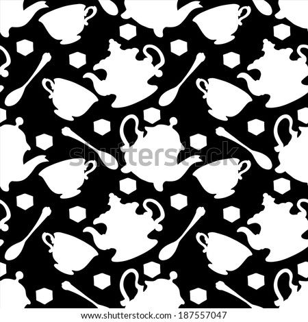 Seamless pattern with tea cups, coffee cups, teaspoon and teapots in black and white. Endless print silhouette texture. Tea party background. Retro. Vintage style - vector - stock vector