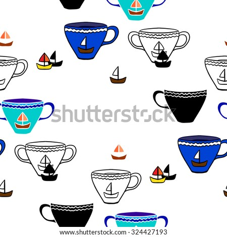 Seamless pattern with tea cups. Vector illustrations.  - stock vector