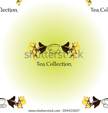 Seamless pattern with tea set logo, apple flowers. Tea collection. Vector set illustration  - stock vector